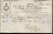 More details for 1915 dumfries, watch & clock maker, j. m. mclean, illustd bilhead to miss lennox