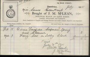 1915 DUMFRIES, WATCH & CLOCK MAKER, J. M. McLEAN, ILLUSTd BILHEAD TO MISS LENNOX