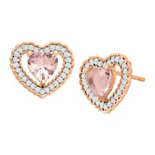 Heart Studs in 18K Rose-Gold Plated Silver 2 7/8 ct Simulated Morganite & Cz