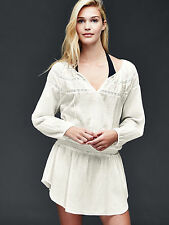 NWT Gap Long sleeve smock cover up, New off white SIZE L # 201751