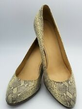 COLE HAAN Womens 10B Cream Leather Snake Skin Heels Pumps