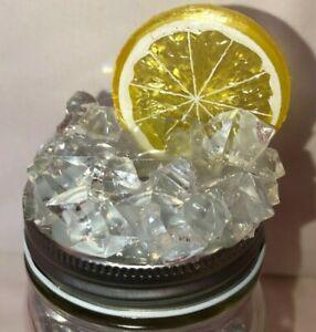 Mason Jar Lid w Straw Hole Faux Ice Topper   Lemon with Cushed Ice