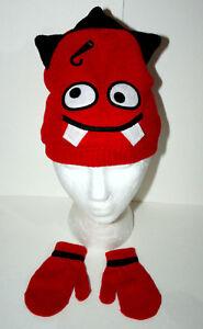 Cute Knit Red Monster Winter Cap Glove New Toddler Infant Mitten Hat Set