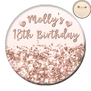 Personalised Faux Glitter Effect PIN BADGE Button - Hen Party Birthday - 58mm
