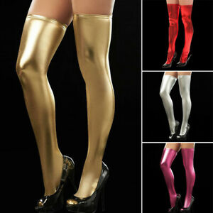 Women Sexy Black Faux Leather Thigh High Wet Look Stockings Zipper Long/Socks