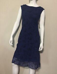 La Belle size 9 Blue Glitter Formal Drape Cowl Back Floral Dress NWT