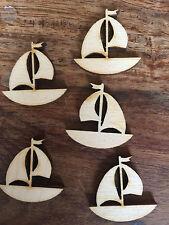10 x Wooden Mini BOAT EMBELLISHMENT Craft Card Scrapbook Art/sd268
