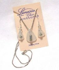 LUNASEA TREASURES SEA GLASS SILVERY GREEN PEARL STERL SILVER NECKLAC EARRING SET