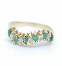 14k Yellow Gold Marquise Emerald and Diamond Ring