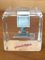 Vintage Lucite Paperweight Wyse Technology Pewter Computer Data Terminal Dell