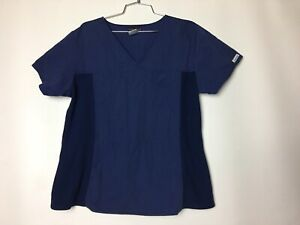 cherokee flexibles v neck scrub top blue stretchy side panels size large