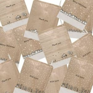 East of India Brown Paper Gift Bags   Thank you Christmas With Love Party