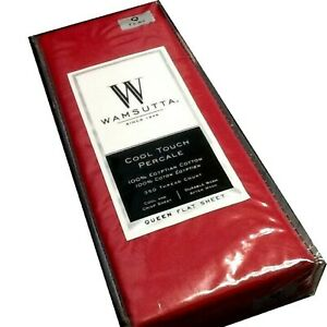 New RED Wamsutta Cool Touch Percale 350 TC 100% Egyptian Cotton QUEEN Flat Sheet