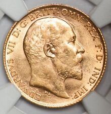 More details for flashy unc ngc ms-63 1910 (london mint) king edward vii gold half sovereign