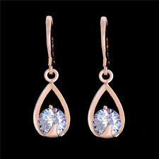 Antiallergic 18k Gold Austrain Crystal Waterdrop Dangle Hoop Earrings