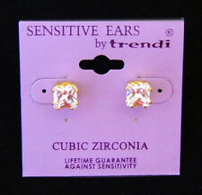 Gold Square Cut Cubic Zirconia 7 mm Stud Earring  FOR SENSITIVE EARS!!!