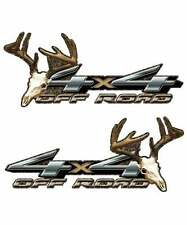 4x4 Camouflage Deer Skull Truck Decal Set - Archery Hunting Whitetail Stickers