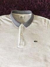 Super Cool 100% Genuine Mens Lacoste White Striped Polo Shirt In Size 4, Medium