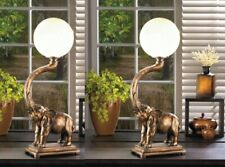 Trumpeting Elephant with White Globe Figural Table Lamps Set of 2