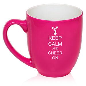 16oz Bistro Mug Ceramic Coffee Tea Glass Cup Keep Calm Cheer On Cheerleader