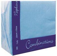 100 paper 2 Ply Sky Blue Serviettes / Napkins Home party office use 33cm x 33cm