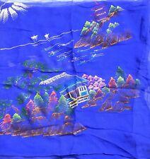 "VTG Japanese Painted Sheer Scarf 32"" Pagoda Purple Neon Paint Sailboats Mountain"