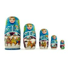 Set of 5 Winter Ride Russian Wooden Matryoshka Nesting Dolls 7 Inches