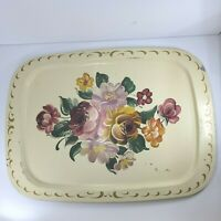 Large Vintage Cream Floral Hand Painted Tole Metal Tray Floral Design