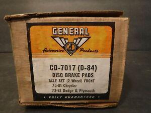 General CD-7017 (D-84) Front Disc Brake Pads Fits 75-81 Chrysler 73-81 Dodge Ply