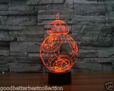 Star Wars BB-8 BB8 3D LED Night Light Acrylic Colorful Atmosphere Table Lamp
