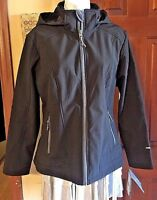 Free Country Softshell Ladies Black Hooded Lightweight Jacket New W Tags Size M