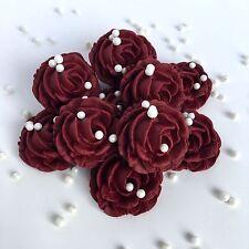 Burgundy Roses & Pearls Sugarpaste Edible Flowers Wedding Cake Decoration Topper