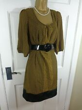 Monsoon Black & Yellow Spotted Lined Belted Dress, UK 14, Excellent Condition