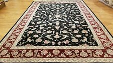 6 x 9 Very Fine Black & Red Wool & Silk Hand Knotted Oriental  Area rug
