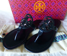 NIB Tory Burch Miller Sandal Petroleo Mirror Metallic Blue Size 5 New In Box