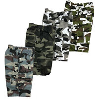 Boys Kids Shorts Army Camo Camouflage Combat Cargo Summer Fashion
