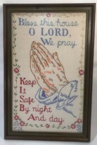 Vintage Wood Framed Embroidery Religious Sampler Wall Art Bless This House Pray