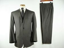 Kiton Napoli 3B Fine Wool Stripe Suit Dark Grey 54/44 fits sz 42 Slim