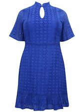 Blue Lace Embroidered Dress Plus Size 22 24 26  broderie Anglaise 333