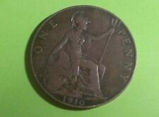 1910 Vintage Old Style British EDWARD VII Britannia Penny Coin (1P). COLLECTABLE