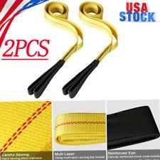 Pair 6ft Nylon Eyeampeye Web Lifting Sling Flat Loops Rigging Towing Hoist Straps