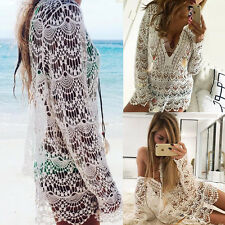 US Women Cover Up Summer Lace Crochet Bikini Swimwear Beach Dress Bathing Suit
