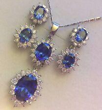 SET Blue Sapphire +Diamante White Gold GF Double Pendant Necklace Earrings Plum