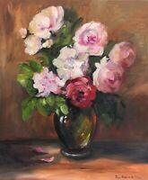 Large original oil painting on canvas floral realism 60 x 50 cm statement art