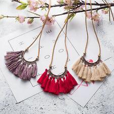 Women Fashion Boho Tassel Necklace Jewelry Leather Rope Chain Silk Fabric Choker