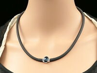 sapphire blue crystal rhinestone magnet closure silver tone rubber necklace U15