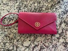 Tory Burch Wallet Clutch Wristlet Raspberry Pink Nwt Stores Lipstick Mirror Pen