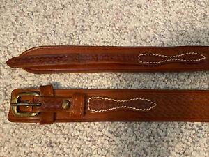 Triple K Ranger Brown Engraved Leather Holster Belt #53A-36 White Stitch Sz 36