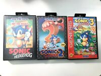 Sonic The Hedgehog 1, 2, & 3 Sega Genesis Game Lot - TESTED CIB Complete!
