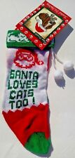 """Vintage 12"""" Knitted Cat Christmas Stocking w/ Pom Poms ~ Santa Loves Cats Too!"""